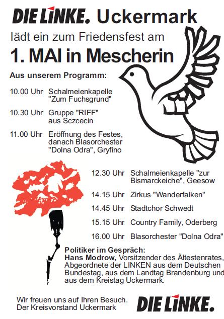 1. Mai in Mescherin mit Beteiligung polnischer Gruppen u.a aus Stettin (Szczecin)