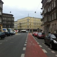 Einige der wenigen Radspuren Stettins: ulica Rayskiego Ecke ulica Jagiellońska. Foto: Adrian Fiedler