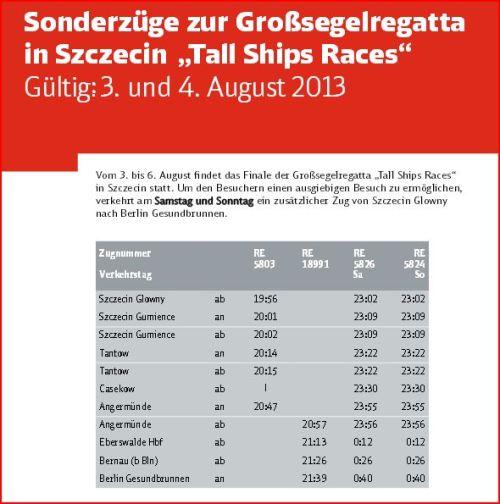 Nächtliche Sonderzüge Stettin (Szczecin) -> Berlin mit Halt im Amtsbereich Gartz/O. (Tantow, Casekow)
