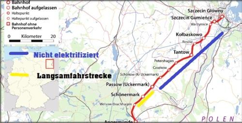 der Stettiner Bahn liegen zwischen Angermünde und Stettin und zu 95 Prozent in Deutschland….